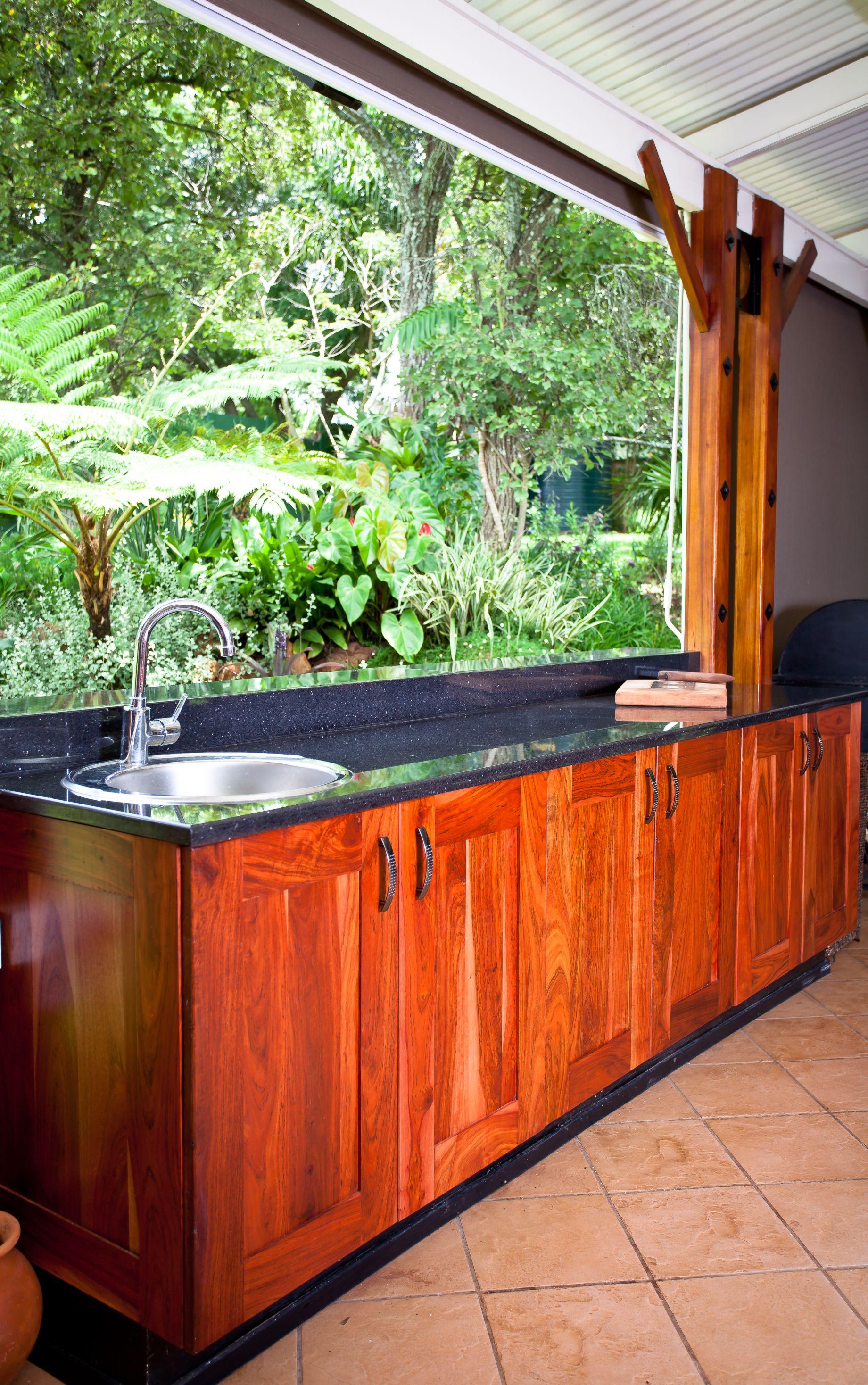 Natural Zimbabwean Teak Shaker Outdoor Bar unit with local Zimbabwean stargate granite counter tops